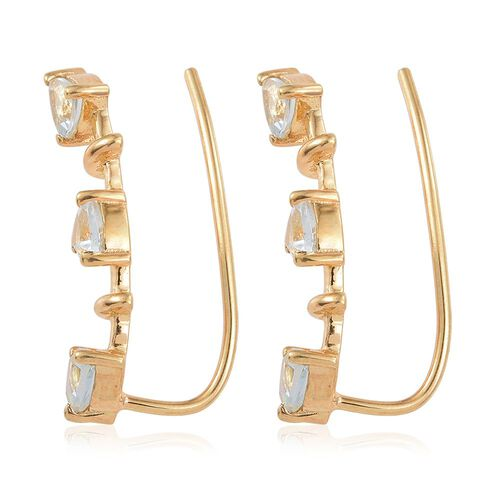 Espirito Santo Aquamarine 1 Carat Silver Climber Earrings in Gold Overlay