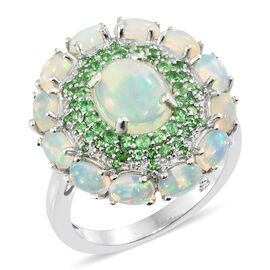 Ethiopian Welo Opal (Ovl 10X8), Tsavorite Garnet Floral Ring in Platinum Overlay Sterling Silver 4.500 Ct.