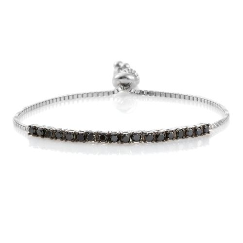 One Time Deal-Black Diamond (Rnd) Adjustable Bracelet (Size 7.5) in Platinum Overlay Sterling Silver 1.000 Ct.