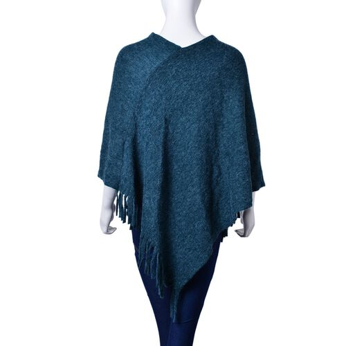 New Autumn / Winter Season - Navy Blue Colour Knitted Poncho with Fringes (Free Size)