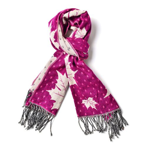 Fuchsia with White Colour Maple Leaf Pattern Scarf with Long Tassels (Size 170x65 Cm)