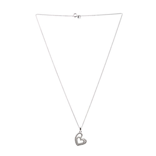 Close Out Deal Simulated Diamond (Rnd) Heart Pendant With Chain in Rhodium Plated Sterling Silver