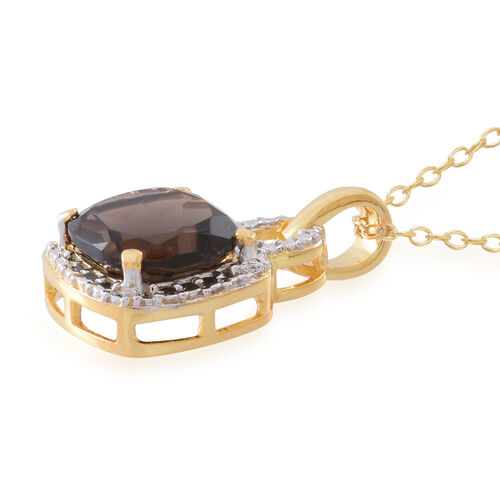 Brazilian Smoky Quartz (Cush) Pendant With Chain in 14K Gold Overlay Sterling Silver 5.000 Ct.