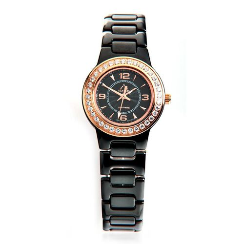 Monchic High Tech Swiss Quartz Black Ceramic Sapphire Glass Water Resistant Watch with Rose Gold Indicators