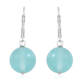 Ocean Aquamarine  (Rnd) Lever Back Earrings in Rhodium Plated Sterling Silver 24.000 Ct.