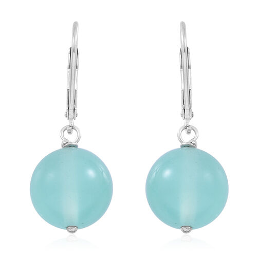 Chienese Aqua (Rnd) Lever Back Earrings in Rhodium Plated Sterling Silver 24.000 Ct.