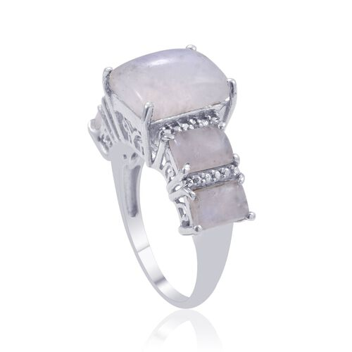 Rainbow Moonstone (Bgt 3.00 Ct), Diamond Ring in Platinum Overlay Sterling Silver 5.010 Ct.