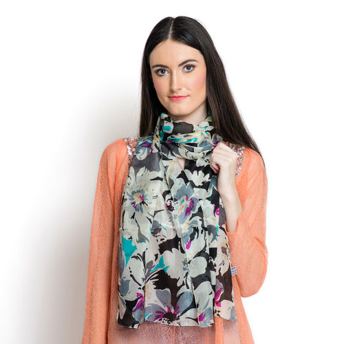 SILK MARK - Made in Kashmir 100% Mulberry Silk Multi Colour Abstract Pattern Black Colour Scarf (Size 170x50 Cm)