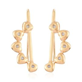 Diamond Heart Climber Earrings in 14K Gold Overlay Sterling Silver