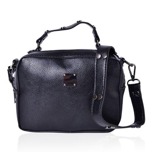 Black Colour Crossbody Bag with External Zipper Pocket and Removable Shoulder Strap (Size 20X15X7.5 Cm)