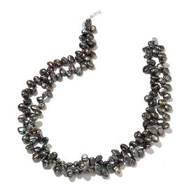 Peacock Keshi Pearl Necklace (Size 18 with 1 inch Extender) in Rhodium Plated Sterling Silver 403.000 Ct.