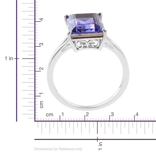 J Francis Crystal from Swarovski - Tanzanite Colour Crystal (Bgt) Solitaire Ring in Platinum Overlay Sterling Silver