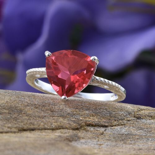 Amit Special Deal Padparadscha Quartz (Trl) Solitaire Ring in Sterling Silver 4.500 Ct.
