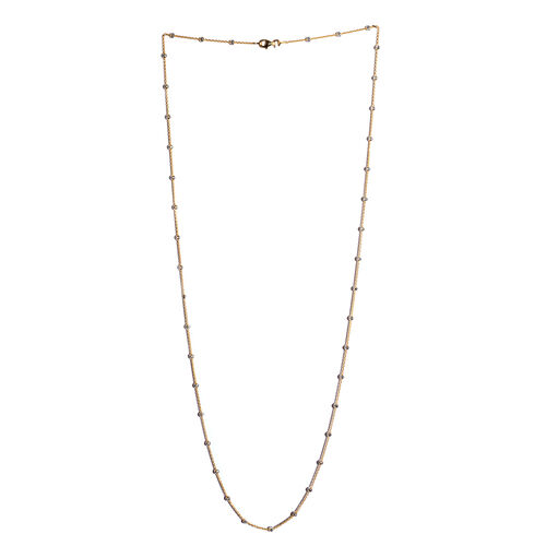 Vicenza Collection Platinum and Yellow Gold Overlay Sterling Silver Half Moon Necklace (Size 30), Silver wt 6.60 Gms.
