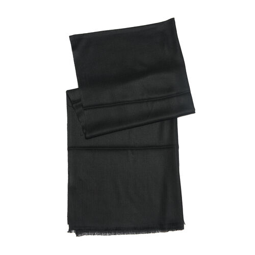 100% Cashmere Wool Black Colour Shawl with Fringes (Size 200X70 Cm)