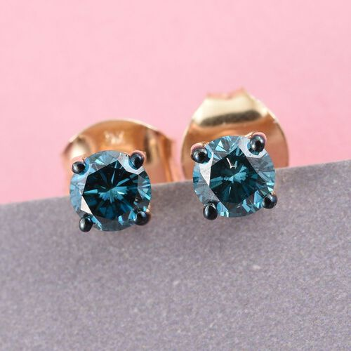9K Yellow Gold 0.50 Carat Blue Diamond I3/I- J Stud Earrings (with Push Back)