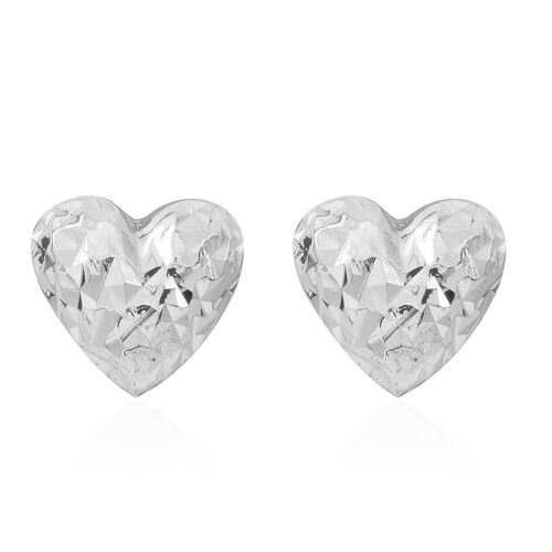 Vicenza Collection - Sterling Silver Diamond Cut Heart Stud Earrings (with Push Back)