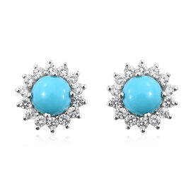 Arizona Sleeping Beauty Turquoise (Rnd), Natural Cambodian Zircon Stud Earrings (with Push Back) in Platinum Overlay Sterling Silver 5.750 Ct.