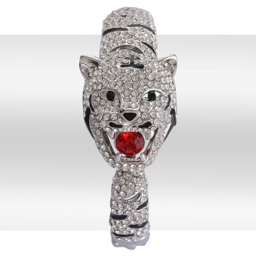 White and Green Austrian Crystal, Simulated Ruby Enameled Leopard Face Bangle (Size 7.5) in Silver Tone