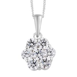 J Francis - Sterling Silver (Rnd) Flower Pendant with Chain Made with SWAROVSKI ZIRCONIA