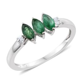 Brazilian Emerald (Mrq), Diamond Ring in Platinum Overlay Sterling Silver 0.750 Ct.