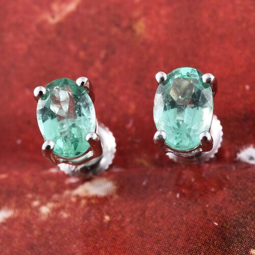 ILIANA 0.75 Ct AAA Boyaca Colombian Emerald Solitaire Stud Earrings in 18K White Gold (with Screw Back)