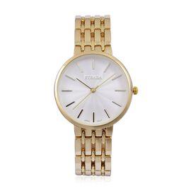 STRADA Urban Style White Finished Yellow Gold Tone Metal Strap Watch