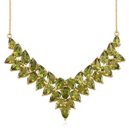 Limited Edition-AAA Hebei Peridot (Pear) Necklace (Size 18) in 14K Gold Overlay Sterling Silver 42.250 Ct. Silver wt 14.62 Gms.