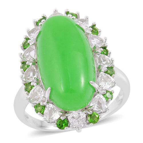 Green Jade (Ovl 10.00 Ct), White Topaz and Russian Diopside Ring in Rhodium Plated Sterling Silver 12.030 Ct.
