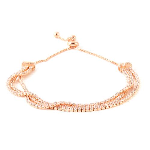 AAA Simulated Diamond (Rnd) Triple Strand Adjustable Bracelet (Size 6.5 to 8.5) Rose Plated