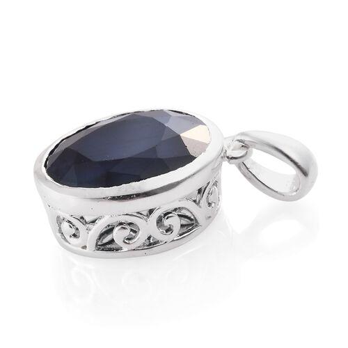 Kanchanaburi Blue Sapphire (Ovl) Solitaire Pendant in Sterling Silver 5.000 Ct.