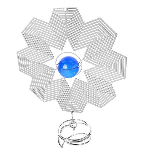 Home Decor - Hanging 3D Wind Spinner With Blue and White Balls Inside (Size 34x15.3 Cm)