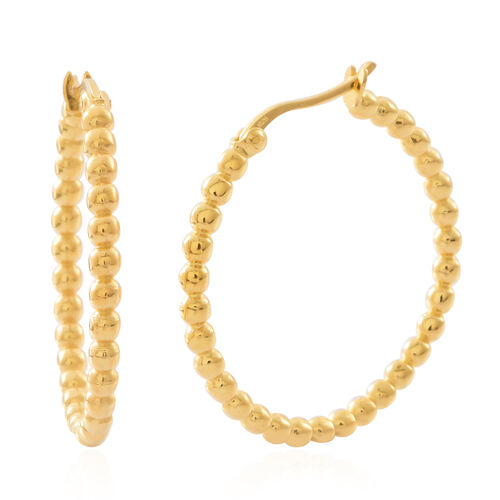 Vicenza Collection-14K Gold Overlay Sterling Silver Beads Hoop Earrings (with Clasp Lock), Silver wt 7.00 Gms.