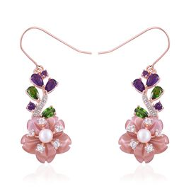 Jardin Collection - Pink Mother of Pearl, Fresh Water Pearl, Russian Diopside and Multi Gemstone Flower Hook Earrings in Rose Gold Overlay Sterling Silver