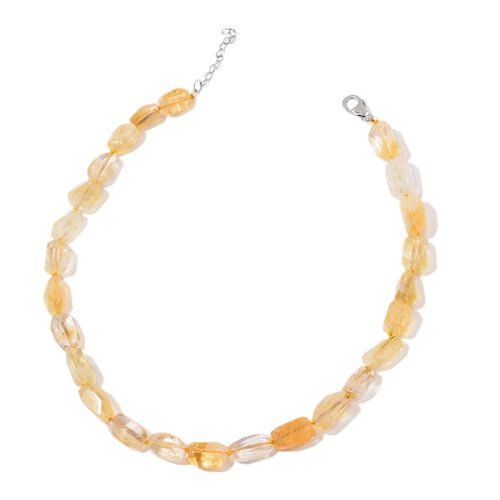 Citrine Necklace (Size 18 with 2 inch Extender) in Rhodium Plated Sterling Silver 275.000 Ct.