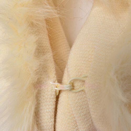 New Season - Designer Inspired - Super Soft Cream Colour Kimono with Faux Fur on Edges (Free Size)