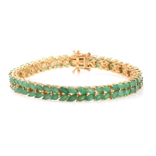 AAA Kagem Zambian Emerald (Mrq) Bracelet (Size 7.5) in 14K Gold Overlay Sterling Silver 12.000 Ct.