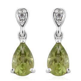 Hebei Peridot (Pear), Natural Cambodian Zircon Earrings (with Push Back) in Platinum Overlay Sterling Silver 1.750 Ct.