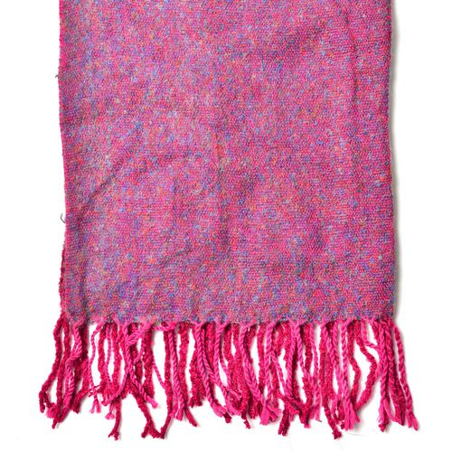 Designer Inspired-Fuchsia and Light Blue Colour Scarf with Tassels (Size 180x60 Cm)
