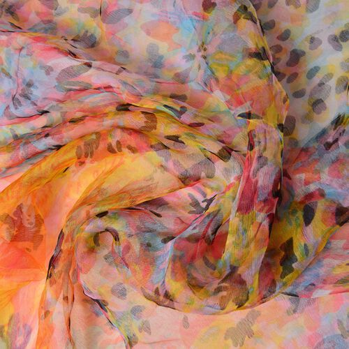 40% Mulberry Silk Orange, Yellow and Multi Colour Leopard Pattern Scarf (Size 170X105 Cm)