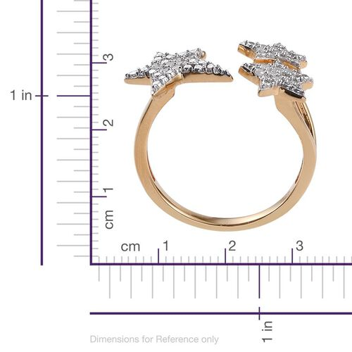 Diamond (Rnd) Triple Star Open Ring in 14K Gold Overlay Sterling Silver 0.250 Ct.