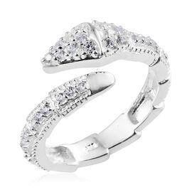 J Francis - Sterling Silver (Rnd) Serpentine Ring Made with SWAROVSKI ZIRCONIA