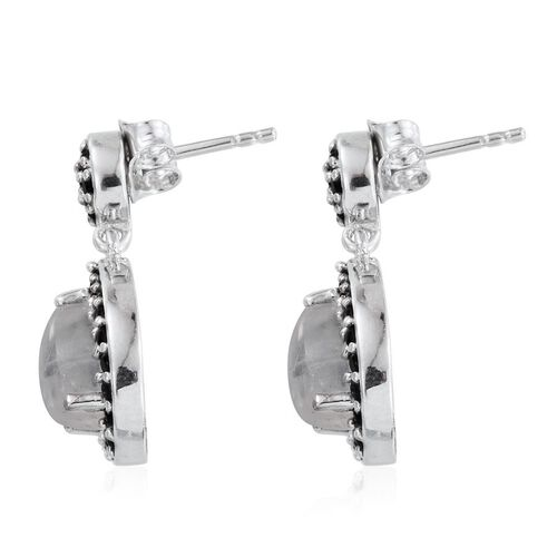 Natural Rainbow Moonstone (Pear), Boi Ploi Black Spinel Earrings in Platinum Overlay Sterling Silver 4.500 Ct.