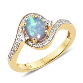 AAA Ethiopian Opal (Ovl 8x6 mm), Natural Cambodian Zircon Ring in 14K Gold Overlay Sterling Silver 1.000 Ct.