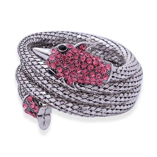 Black and Pink Austrian Crystal Arm Wraps in Silver Tone