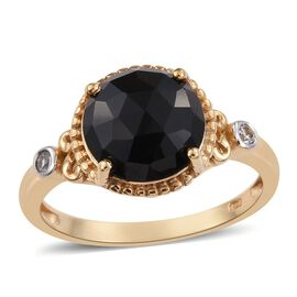 Black Onyx (Rnd 3.90 Ct), Natural Cambodian Zircon Ring in 14K Gold Overlay Sterling Silver 4.000 Ct.