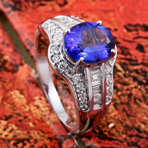 ILIANA 2.45 Ct AAA Tanzanite with Diamond IGI Certified (SI/G-H) Ring in 18K White Gold