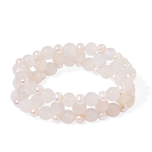 White Agate and Fresh Water White Pearl Stretchable Bracelet (Size 7.5) 185.000 Ct.