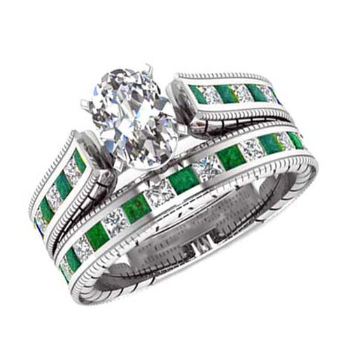 AAA Simulated Diamond (Ovl), Simulated Emerald Ring in Silver Bond