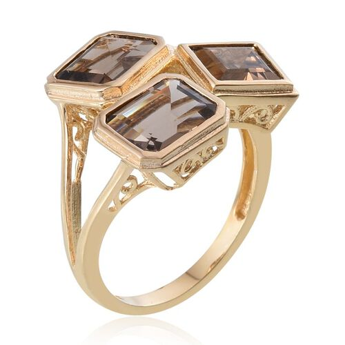 Brazilian Smoky Quartz (Oct) Ring in 14K Gold Overlay Sterling Silver 5.750 Ct.